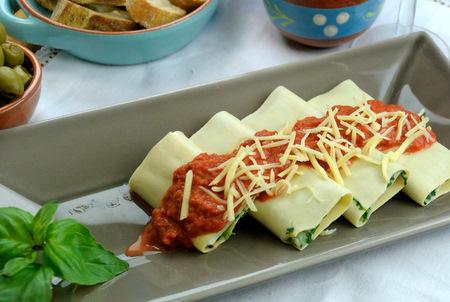 Canneloni met spinazie en ricotta